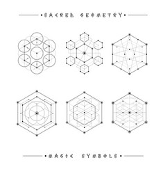 Sacred geometry signs alchemy religion vector