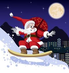 Santa Claus on a snowboard vector image vector image