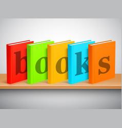 bookshelf and books vector image