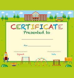 certificate template with school in background vector image