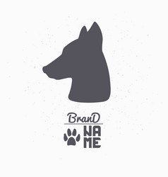 hand drawn silhouette of dog head vector image vector image