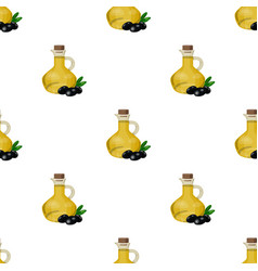 Olive oil bottle with cartoon olives icon in vector