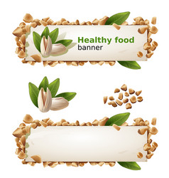 set banners with pistachios and ground nuts vector image vector image