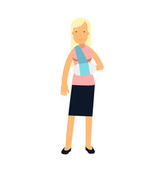 blonde woman with arm in a plaster colorful vector image vector image