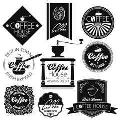 coffee set labels vector image vector image