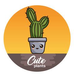 cute kawaii cactus and succulent cartoon vector image vector image