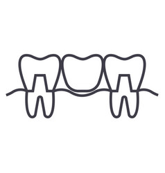 denture line icon sign on vector image vector image