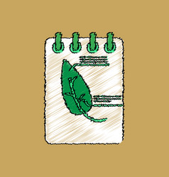 flat shading style icon notebook and leaf vector image vector image