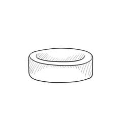 Hockey puck sketch icon vector image