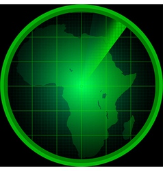 Radar screen with a silhouette of Africa vector image vector image