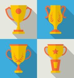 Trophy Flat Icons Set of Success Award vector image