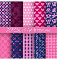 10 bright girl seamless patterns tiling pink vector image