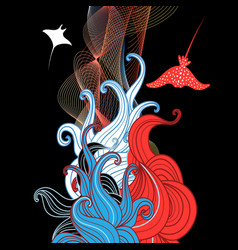 abstract with wavy elements vector image