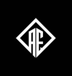 Ae logo monogram with square rotate style design vector