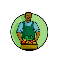 African american green grocer greengrocer mascot vector