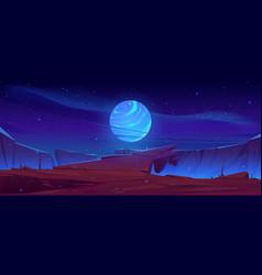 Alien planet surface landscape background view vector