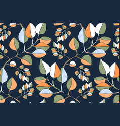 Art floral seamless pattern color leaves vector