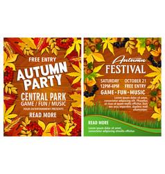 autumn harvest festival poster on wood background vector image