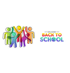 Back to school card diverse colorful class vector