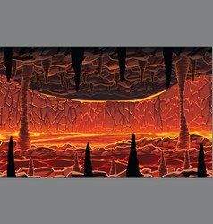 Background landscape - hot cave with lava vector