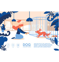 banner for site with young girl adopting a dog vector image