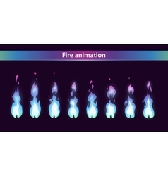 Blue fire animation sprites vector image vector image