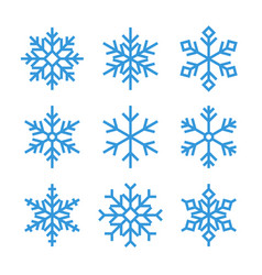 Blue outline snowflake icons vector