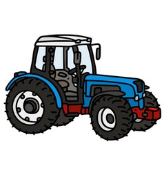 Blue tractor vector image