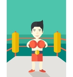 Boxer in gloves standing on ring vector