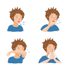 boy sneezing and coughing right and wrong vector image