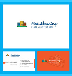 buildings logo design with tagline front and vector image