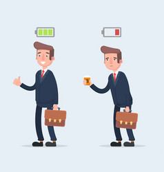 Business and life energy businessman with low vector