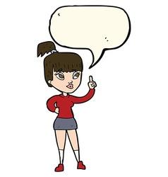 Cartoon attractive girl with idea with speech vector