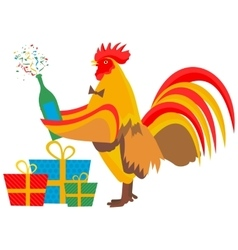 Christmas cock and champagne vector image