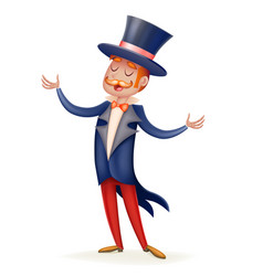 Circus show host boy man suit cylinder hat icon vector