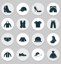 Clothes icons set collection of elegant headgear vector