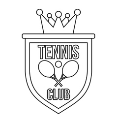 Coat of arms of tennis club icon outline style vector