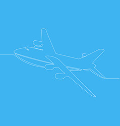 continuous one line drawing aircraft modern vector image
