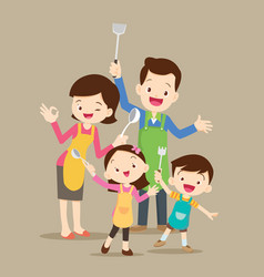 Cute happy family cooking vector