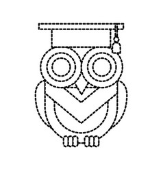 cute owl with graduation hat school learn vector image