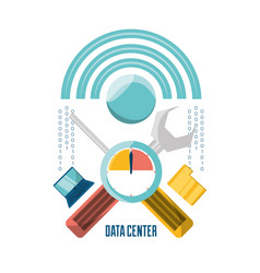 data center connection tools with computer and vector image