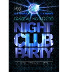 Disco background poster night club party vector