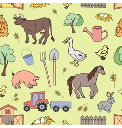 Doodle pattern farm vector