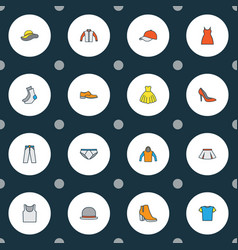 dress icons colored line set with hat blouse vector image
