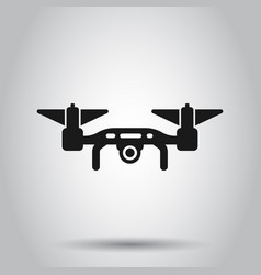 Drone icon in transparent style flying camera on vector