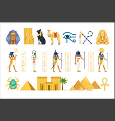 egypt set egyptian ancient symbols power vector image