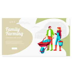Family farming landing page template vector