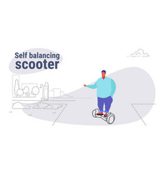 fat obese man riding electric self balancing vector image