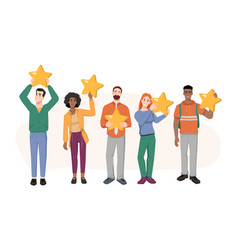 five stars rating man and woman feedback review vector image