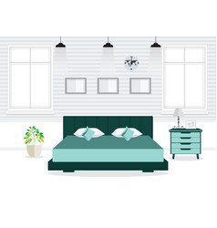 Flat design double bedroom wth furniture vector
